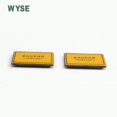 Rectangle enamel yellow alloy metal label