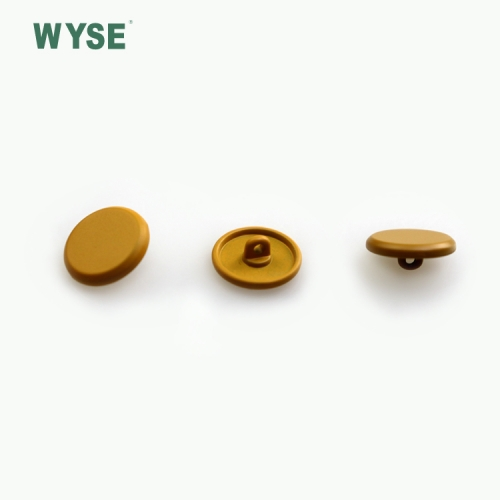 Yellow painted alloy shank button