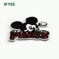 High quality fashionable cute Mickey embroidery patch woven label