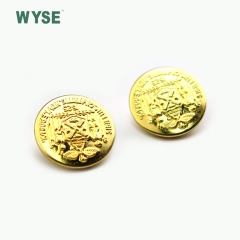 gold finish embossed logo brass shank button