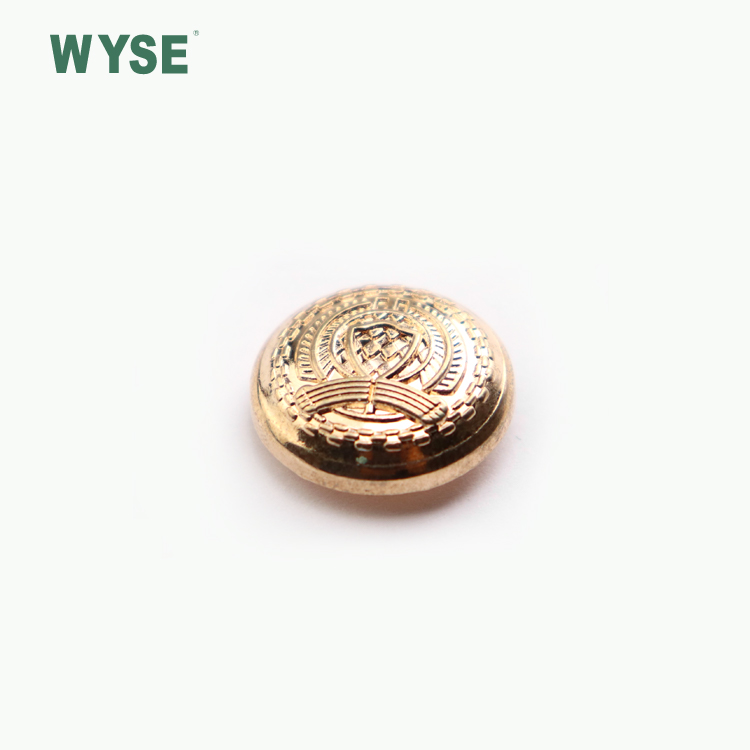 Fashion custom gold embossed logo Brass spring snap button
