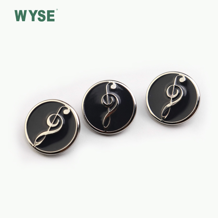 Custom logo black epoxy coat embossed Zinc Alloy metal sewing garment shank buttons