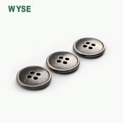 Custom metal cheap gunmetal fashion color alloy sewing four holes button