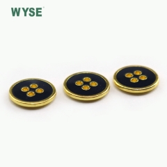 Custom fashion epoxy color four holes alloy sewing button