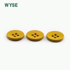 Custom yellow color four holes alloy sewing button for garment clothes