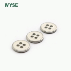 New style epoxy white color alloy sewing four holes button
