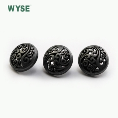Dark anti nickel coat embossed hollow Zinc Alloy sewing garment shank buttons