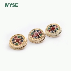 Fancy metal epoxy colorful gold coat shank button