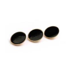 New style designer metal gold with black epoxy flat shank button