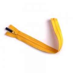 #3 leather puller corn teeth yellow plastic zipper