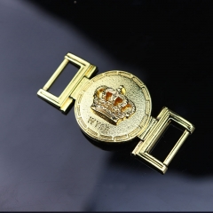 Metal belt buckle sun buckle metal crown exclusive design style gold-plated surface custom logo leather shoes buckle