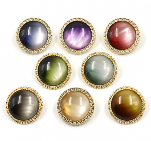 New style fashionable metal custom round shape resin gradient pearl high-grade shank button for woman coat